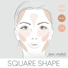 A makeup guide to applying highlighter, bronzer and blush to a square-shaped face.