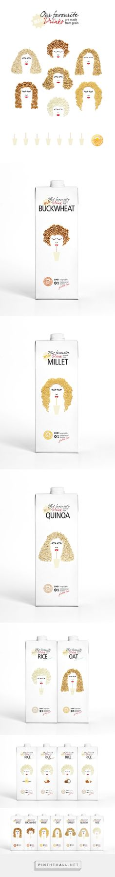 My favourite drink is made from... on Behance via Zita Sramkó curated by Packaging Diva PD. What a cute packaging design concept drinks made from grains : )