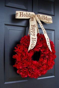 Cranberry Red Christmas Wreath - love the door color