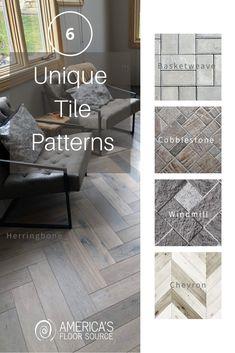 Diy Projects Yard, Herringbone Tile Pattern, Home Interior Design, Interior Decorating, Unique Tile, Hygge Home, Elegant Dining Room, Tile Patterns, Basement Flooring
