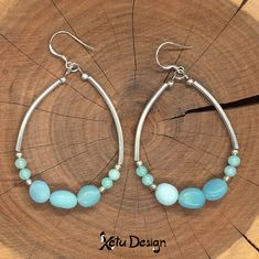 Amazonite nuggets silver earrings by XetuDesign on Etsy Luxury Jewelry, Unique Jewelry, Gemstone Jewelry, Diamond Jewelry, Handmade Jewelry, Jewelry Model, Jewelry For Her, Round Earrings, Silver Earrings