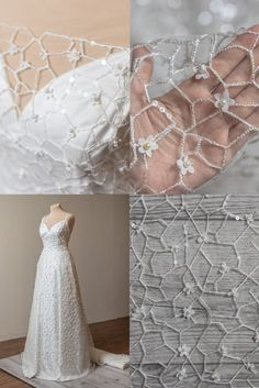 Beaded Wedding Gowns, Wedding Lace, Lace Weddings, Bridal Gowns, Wedding Dresses, Lace Fabric, Sequins, Ivory, Yard