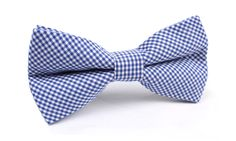 Blue Gingham Cotton Bow Tie   Men's Handmade Bowtie   Pre-Tied Men Bowties   Mens Ties and Accessories Melbourne Australia   The Brothers at OTAA   OTAA.COM