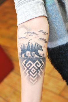 Black and gray symbolic tattoo on girls arm. Artist Janis Andersons #latvian #latviansign #sign #patriotic #latvia #symbol #symbolic #latviansymbol #bear #pines #spruce #wood #clouds #abstract #riga #tattooinriga #art #tattooink #ink #inked #skin #tattooartist #tattoofrequency #share #like #follow