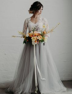 Mignonette Bridal Atelier Dress // gray tulle skirt