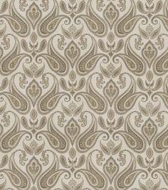 Eaton Square Print Fabric-Mango/Charcoal