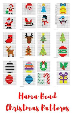 Christmas decorations of ironing beads - printable templates Hama . - Christmas decorations of ironing beads – printable templates Hama Bead Christmas pattern - Beaded Christmas Decorations, Christmas Perler Beads, Beaded Ornaments, Christmas Cross, Christmas Diy, Christmas Patterns, Christmas Movies, Disney Christmas, Holiday