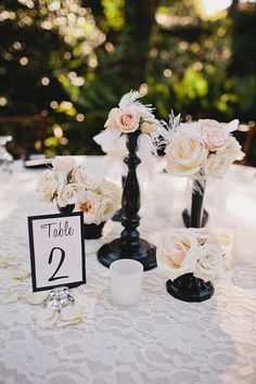 Black and white table decor at classic and romantic vintage wedding, photos by La Dolce Vita | junebugweddings.com
