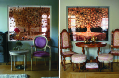 copper tree on glass Habitats, Dining Chairs, Art Deco, Glass, Interior, Copper, Spaces, Furniture, Home Decor