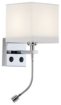 "Contemporary Chrome Combo LED Reading Light 11"" High Wall Sconce contemporary wall sconces"