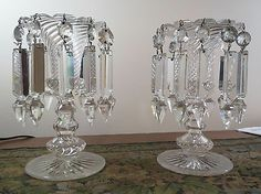 Mantle Luster's with Prisms | ... Holders Swirl Bohemian Mantle Lusters / Lustres with Spear Prisms