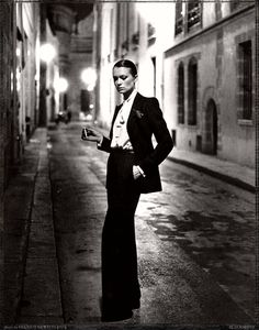 Yves St. Laurent, Rue Aubriot -- Helmut Newton for French Vogue, 1975
