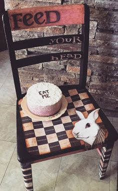 "My White Rabbit chair, inspired by Alice In Wonderland, and the song by Jefferson Airplane. Salvaged schoolchair hand-painted, illustrated, a little InDesign work and embellished with a ""cake"" frosted with lace and Snow-Tek. Donated to North Central Illinois ArtWORKS for their Chair-ity fundraiser. Raffle sales end June 10, 2016. https://go.rallyup.com/f8fa8a #aliceinwonderland #whiterabbit #jeffersonairplane #classicrock #repurposed #upcycled #paintedfurniture"