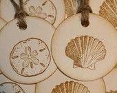 Beach Wedding Sea Shell Tags  Beach Wedding Favor Tags. $5.00, via Etsy.