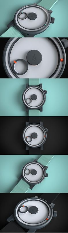 """In the #designer's own words, there's simply """"not much to say about Circulo!"""" #Beautifully simple, the modern design presents a different way of telling time. The primary circle revolves around the greater space to indicate the hour while also revolving around itself to give the minutes with a small orange #dial. Hence its name! Next to the sundial, it's time represented in its most reduced and familiar visual form! #Yankodesign #Watch #Watch"""