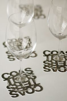 Coasters (promo idea- make cut out letter coasters with your business's name or logo!)