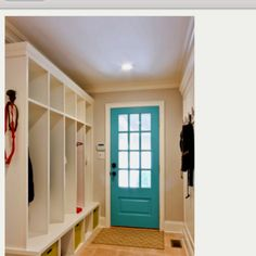 LOVE this backdoor and mudroom- paint back door and front door on inside. Back Doors, Painted Doors, Door Ideas, Humble Abode, Mudroom, Curb Appeal, Homesteading, Paint Colors, Living Spaces