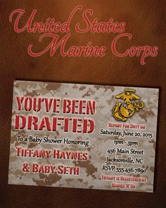 US Military Baby Shower Digital Invitation (Marines) by six8twelvedesigns