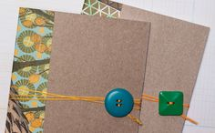 DIY notebooks from cereal boxes & scrap paper, with embellishments. Via Sierra Club's Green Life. New Project Ideas, Projects For Kids, Craft Projects, Upcycled Home Decor, Repurposed, Paper Glue, Waste Paper, Diy Notebook, Green Life