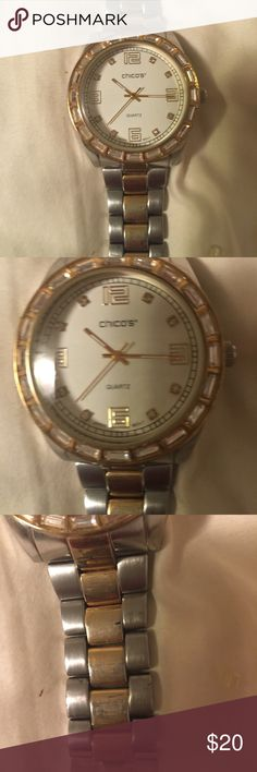 Chicos watch To tone watch face surrounded by crystals Jewelry Bracelets