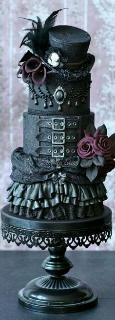 Just a little different from the average wedding cake, complete with Victorian or even Steampunk twist