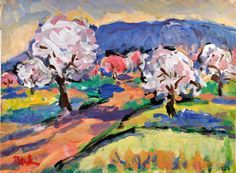 Landscape Original Painting 12 x16 acrylic Spring Orchard by RussPotak, $179.00