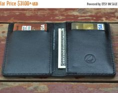 ❘❘❙❙❚❚ ON SALE ❚❚❙❙❘❘   Mens Wallet Front Pocket Blue Letaher Slim Wallet Gift For Him Personalized (if need)  Left side pocket is for: IDs, cards, cash Right side is for again IDs, cards, cash And card's slots on the both sides are for cards (up to 4 in each) Where exactly to put your stuff it's up to you, the wallet might take enough and still be slim.  What is PERSONALIZED? Engraving of initials, words (any type of font you'd like) symbols, logos.  Color – blue Material - genuine leather…
