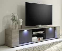 Alberta, Modern Large TV Cabinet in Grey Oak /Grey Finish, Lights Included