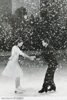 skating | vintage, couple and snow