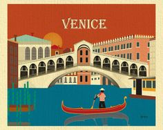 Venice, Italy Skyline Vertical Destination Print - Travel Wall Art - for Home, Office, and Nursery - style Nice, Budapest, Cabo San Lucas, Art Mural Voyage, Kitzingen Germany, Jersey City, Santorini, Verona, Santa Monica