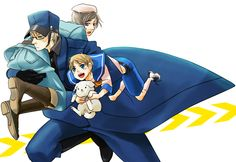 by おはぎ - Hetalia - Sweden / Finland / Sealand wow O.O that takes alot of balence and strength to carry that much. Go Su-san!