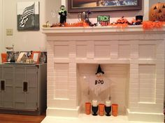 The bar and the fireplace mantle.