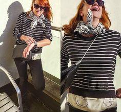 More looks by Baba Slovakova: http://lb.nu/user/6155919-Baba-S  #casual #street #blackjeans #strips #stripspullover #fashionoverfifty #black #white #czechrepublik