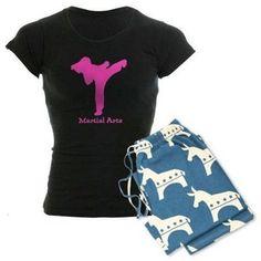 Cafepress Personalized Martial Arts Pink Design Karate Girl Women's Dark Pajamas, Size: Small