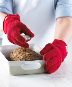 Red Silicone Kitchen Glove Set #zulily #zulilyfinds.  $24.99. I wish they came in other colors... Great idea though!