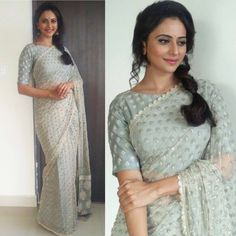 Saree love. Rakul Preet in SVA Couture for Big C opening Styled by Bramhini Ashwitha. 05 August 2017