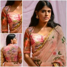 Have a look at the latest blouse designs trends for this year. Pakistani Fashion Casual, Indian Fashion, Blouse Patterns, Blouse Designs, Floral Blouse, Indian Sarees, Indian Wear, Design Trends, The Selection