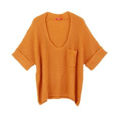Single Patch Pocket Pullover with Scoop Neckline in Pure Color ($96) ❤ liked on Polyvore featuring tops, batwing sleeve tops, loose fit tops, loose tops, orange top and scoop neck top