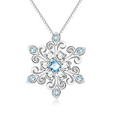 925 Sterling Silver Snowflake Pendant Necklace Blue and White Fleur De Lis Romantic Jewelry Gift for Her Birthday - November 02 2019 at Bracelets En Argent Sterling, Silver Bracelets, Sterling Silver Necklaces, Silver Earrings, Silver Ring, Diamond Necklaces, Earrings Uk, Diamond Choker, Diamond Jewelry