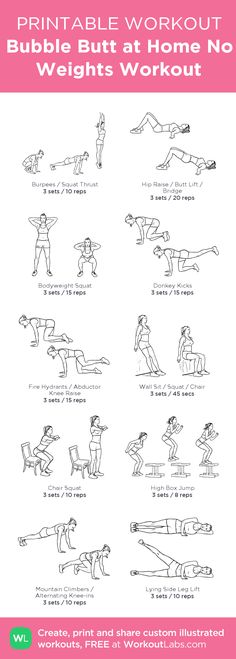 Bubble Butt at Home No Weights Workout with exercise illustrations you can do right now! • Free Printable PDF