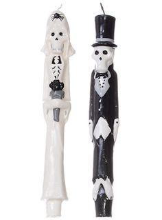 Til Death Skeleton Taper Candle Set #plasticland $16