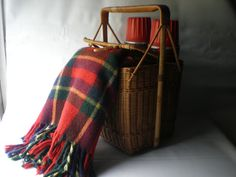 Vintage Wicker Picnic Basket With Two Large Thermos And Wool Blanket