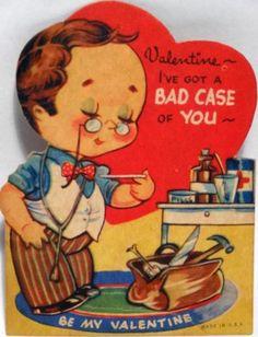 J211 40s Doctor Has a BAD CASE! Medical Bag-RX-Vintage Diecut Valentine Card