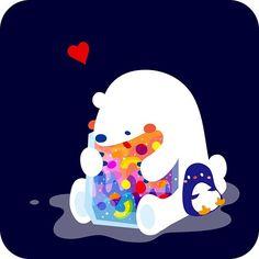 White bear & penguin!! シロクマ&ペンギン! #animal #bear illustration #art #colorful  #絵 #イラスト #シロクマ #熊 #動物 #ペンギン #penguin #bird