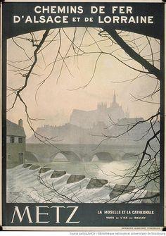 La Moselle et la cathedrale vues de l'ile du Saulcy, H. Thiry,  Chemins de fer d'Alsace et de Lorraine