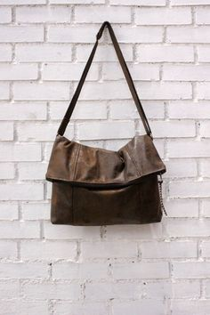 Vegan messenger bag,fold over crossbody, FAUX LEATHER, faux suede in chocolate brown,slouch handbag. Adjustable strap. on Etsy, $61.71 CAD