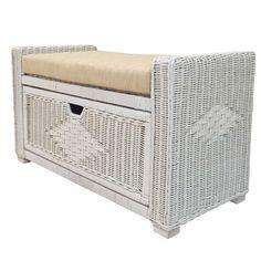 Rattan Wicker Chest Storage Ottoman Eva Color White Wash w/Cushion Wicker Furniture, Outdoor Furniture, Outdoor Decor, Ottomans, Rattan, Storage Chest, Cushions, Wood, Home Decor