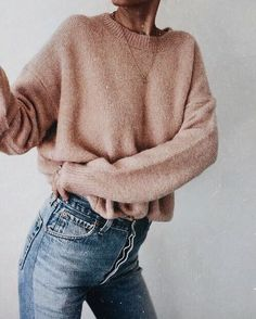 adorable pink sweater & jeans combo #fashionphotos