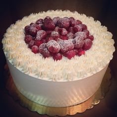Variation on my Strawberry Shortcake. Instead of the cake being covered in vanilla whipped cream, this version the cake is covered in vanilla butercream.
