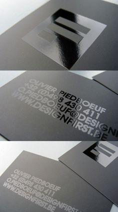 Simple minimalist business card, black on black effect with coated matte and UV finish.